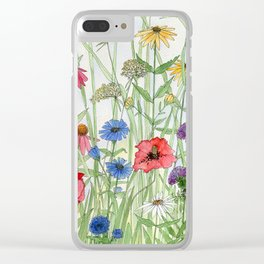 Watercolor of Garden Flower Medley Clear iPhone Case