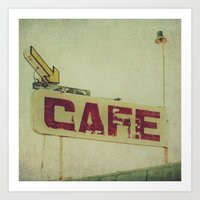 cafe Art Prints featuring Cafe by Honey Malek