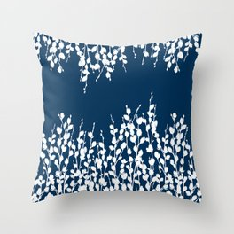 Pussywillow Silhouettes — Midnight Blue Throw Pillow
