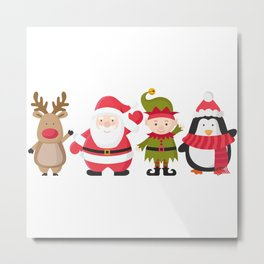 Christmas Cute And Funny Charakter Metal Print