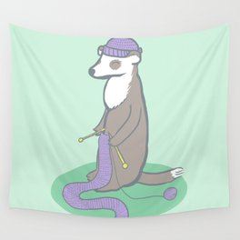 Knitting Ferret Wall Tapestry