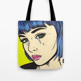 Blue Bangs Crying Comic Girl Tote Bag