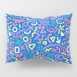 Bright Hand-Drawn 90s Pattern Pillow Sham