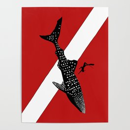 DIVER DOWN - whale shark dive Poster
