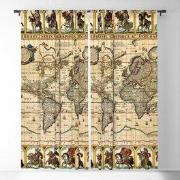 1653 Vintage Nova Totius Terrarum Old World Map by Claus Visscher Blackout Curtain