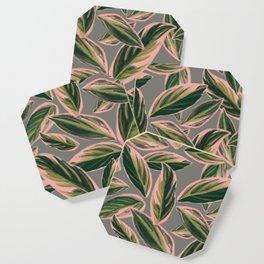 Calathea Leaves Pattern- Pink Green Gray Coaster
