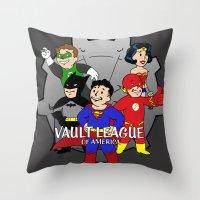 league Throw Pillows featuring Vault League by jcdope