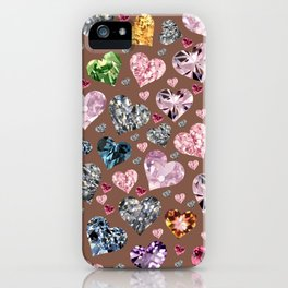 Heart Diamonds are Forever Love Brown iPhone Case