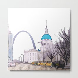 St. Louis Arch with cabs Metal Print