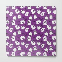 Halloween Purple Cute Ghost Pattern Metal Print