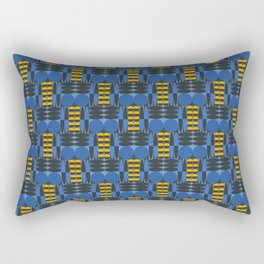 Sixties inspired pattern with circles and ellipses in blue Rectangular Pillow