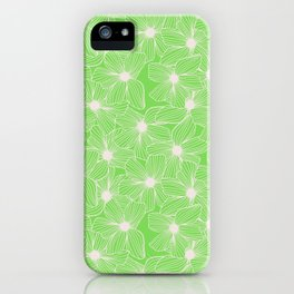 02 White Flowers on Green iPhone Case