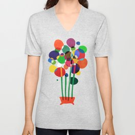 Happy flowers in the vase Unisex V-Neck