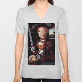 Judith with the Head of Holofernes Unisex V-Neck