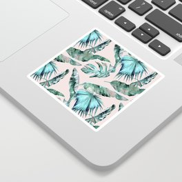 Tropical Palm Leaves Turquoise Green Coral Pink Sticker