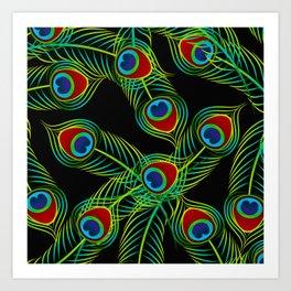 peacock feathers pattern Art Print
