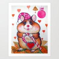 hamster Art Prints featuring HAMSTER by oxana zaika