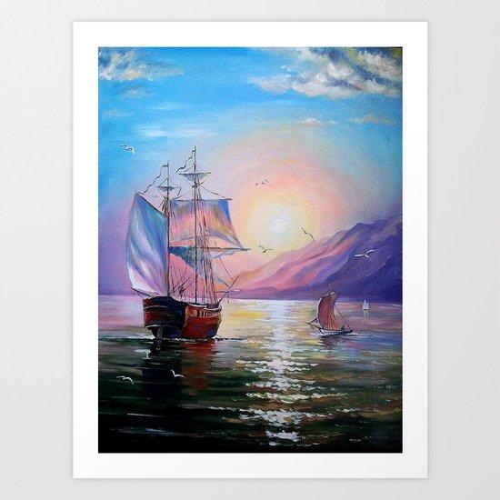 Returning to her native bay Art Print