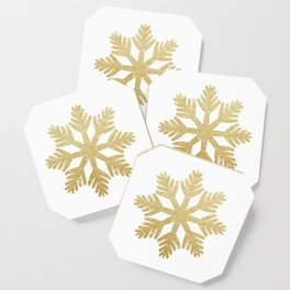 Gold Glitter Snowflake Coaster