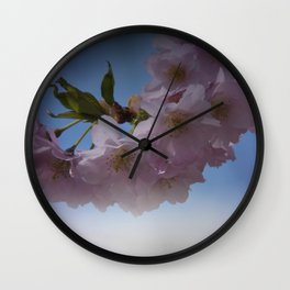pink signs of spring on texture Wall Clock