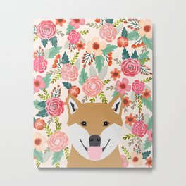 Shiba Inu florals spring summer bright girly hipster dog meme shiba ink puppy pet portraits Metal Print
