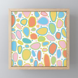 Falling Rocks and Boulders - Multi Coloured , Pink, Blue, Mustard, Yellow, Coral, Framed Mini Art Print