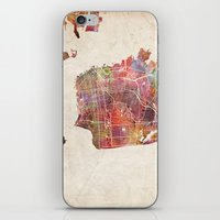 san francisco map iPhone & iPod Skins featuring San Francisco map by MapMapMaps.Watercolors