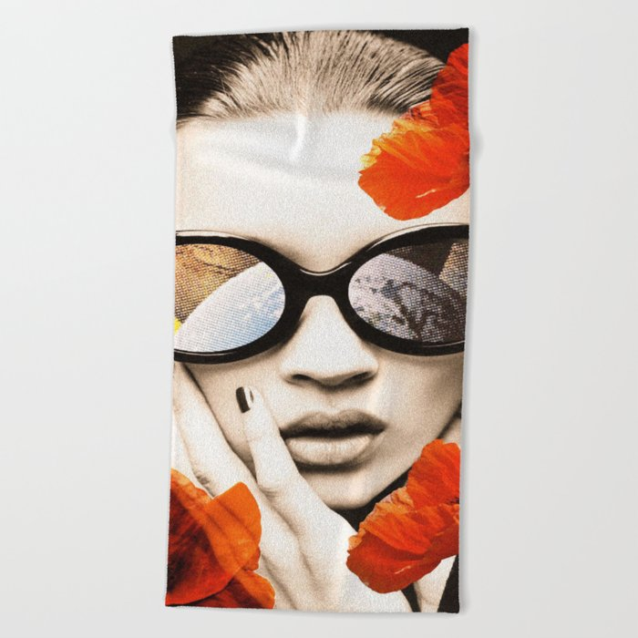 poppy pop (kate Moss) Beach Towel