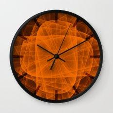 Fractal Eternal Rounded Cross in Orange-Brown Wall Clock