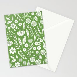 Blooming Field - green Stationery Cards
