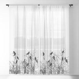 Twelve birds Sheer Curtain