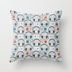 Headphones Pattern Throw Pillow