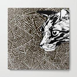 Black Lynx on geometrical background. Metal Print
