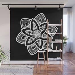 Authentic white mandala on black Wall Mural