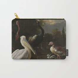 Melchior D Hondecoeter - A Pelican And Other Birds Near A Pool  Known As the Floating Feather . Carry-All Pouch