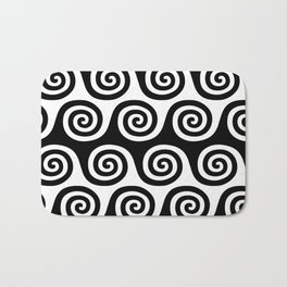 Wave Pattern Black and White Bath Mat