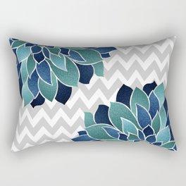 Festive, Chevron, Floral Prints, Navy, Teal and Gray Rectangular Pillow