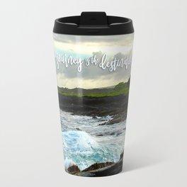 """The journey is the destination"" Hawaii black sand beach photo Travel Mug"
