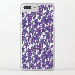 Iris flowers pattern Clear iPhone Case