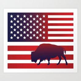 American flag buffalo Art Print