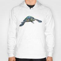 sea turtle Hoodies featuring Sea Turtle by Tim Jeffs Art