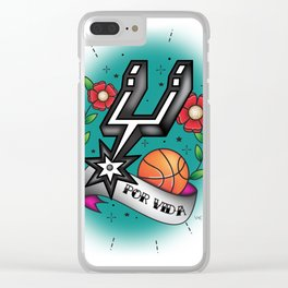 Old-School Spurs Love Clear iPhone Case