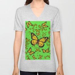 YELLOW BUTTERFLIES GREEN SUMMER ART Unisex V-Neck