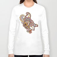 large Long Sleeve T-shirts featuring Large Mehndi by RevvyIllustrations