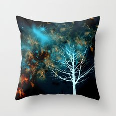 Starlight in Copper-Red and Blue Throw Pillow