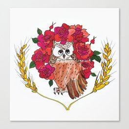 Owl with Rose Halo Canvas Print