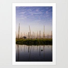 Farmer Mirror Myanmar | Inle lake blue sunrise Fine art | Color - pink - travel - photography - Art print Art Print