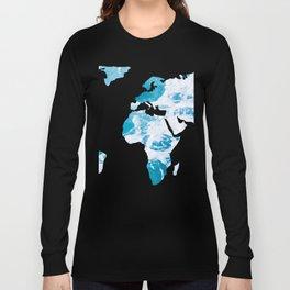 World Map Ocean Waves Long Sleeve T-shirt