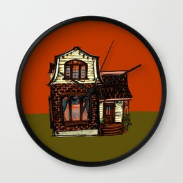 Tiny House in Rust and Yellow Wall Clock