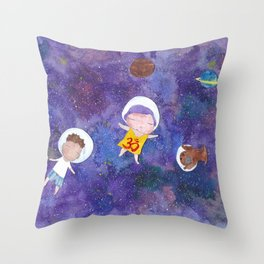Flying into space Throw Pillow